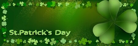 Saint Patricks day horizontal background with lettering, clover leaf frame, large clover leaf on green background. Great for greeting card, poster and web template, header for website. Vector