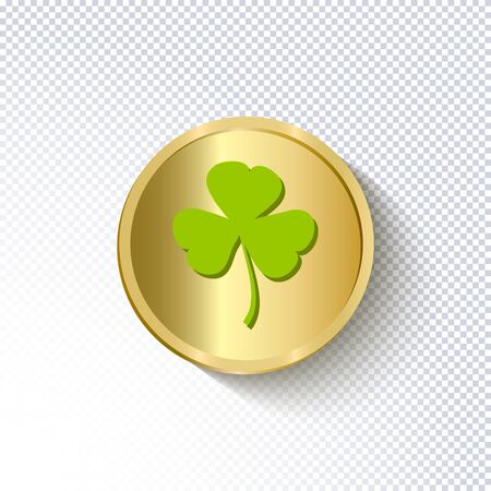 St. Patricks Day holiday background. Realistic gold coin with green leaf of clover on a transparent background. Ideal for greeting card, poster and web template. Stylish modern icon. Vector Ilustração