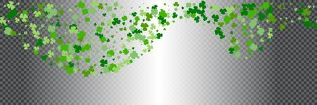 St.Patricks day horizontal seamless background in green colors on transparent background. Ideal for greeting card, poster and web template. Vector Illustration of a St. Patricks Day Background