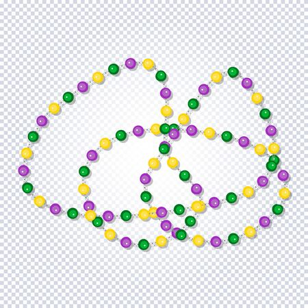 Mardi Gras. Beautiful yellow, green, purple beads on transparent background. Venetian carnival mardi gras party. Multicolored beads with shadow. Ideal for greeting card, poster,  web template. Vector