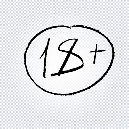 18 age limit symbol. Under 18 years sign icon, drawn by hand. Parental advisory, explicit content, 18 years grunge round warning stamp isolated on transparent. Vector graphics