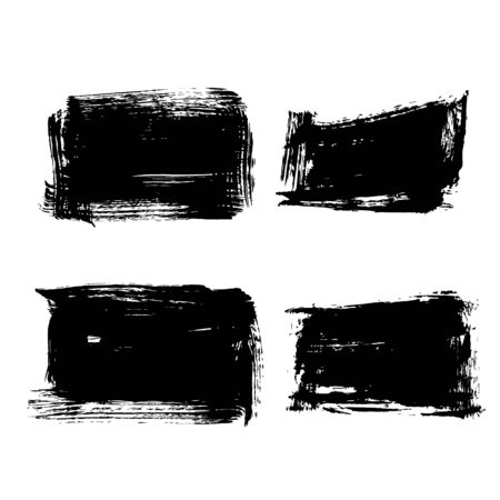 Set of hand drawn design elements. Vector collection of black ink abstract textures. Grunge ink pen - vector Brush Stroke. Distressed quill. Black Modern Textured pen Stroke.
