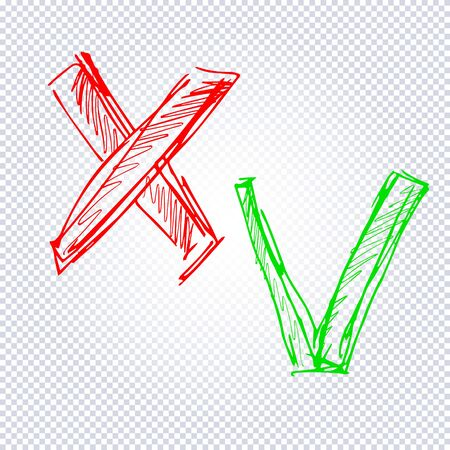 Acceptance and rejection symbol. Green checkmark OK and red X icons isolated on transparent background. Button for Check list marks, choice options, survey signs, vote, decision, web. Vector