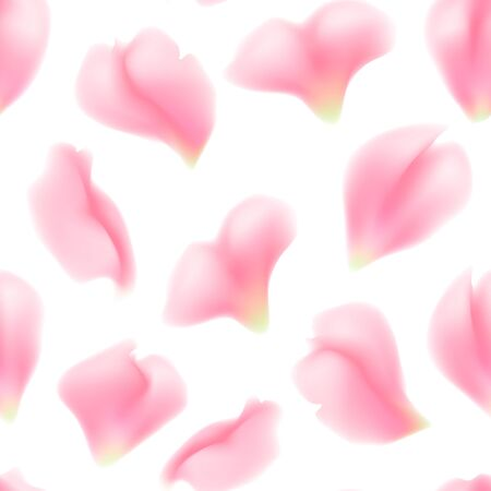 Seamless pattern of rose flower petals. Falling pink rose petals on white background. Vector illustration suitable for valentines day design, wedding design, birthday