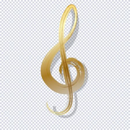 Gold  Treble Clef. Luxury shiny little random stellar falling on transparent background. Gold  Treble clef drawn by hand. Musical festive background. Vector illustration.