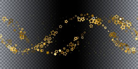 Gold stars confetti. Seamless horizontal pattern random starry fall. Luxury shiny little random stellar falling  on black transparent background. New Year and Christmas background.  Vector