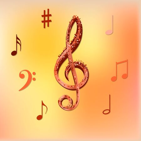 Musical notes on beautiful colored background. Symbols for banner of festival, print design, melody recording, design back layers. Colorful musical notation symphony signs, notes for sound tune music Ilustração