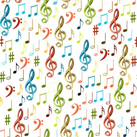 Seamless flying musical notes on white. Musical symbols for banner of festival, print design, melody recording, design back layers. Colorful musical notation symphony signs, notes for sound tune music Ilustração