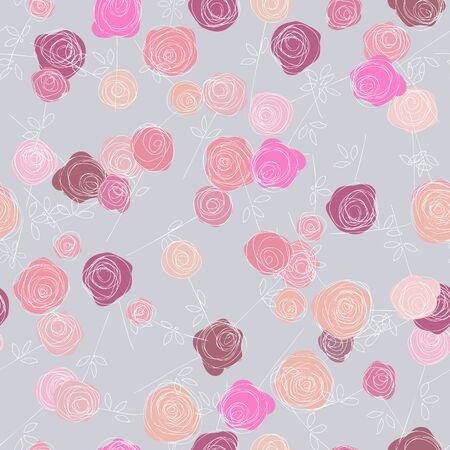 Seamless floral pattern. Hand drawn abstract roses on a gray background. Romantic sketch flowers pattern. Textile composition, hand drawn style print. Vector illustration.