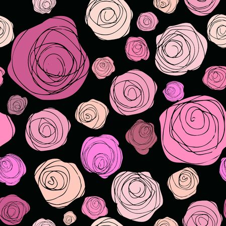 Seamless floral pattern. Hand drawn abstract roses on black background. Romantic sketch flowers pattern. Textile composition, hand drawn style print. Vector illustration.