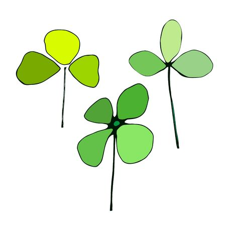 Saint Patricks Day. Set of irish clovers, shamrock leaves on white background. St. Patricks Day decoration elements. Ideal for greeting card, poster and web template. Vector illustration Ilustração