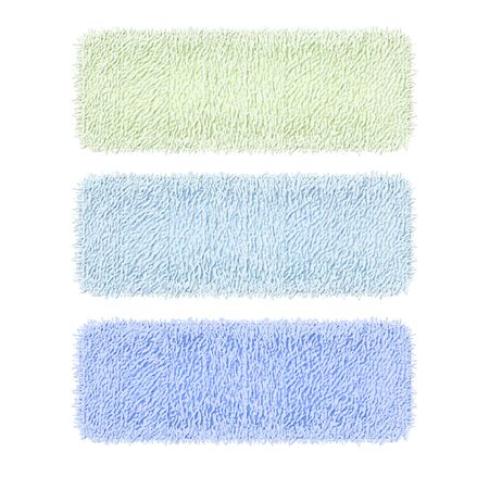 Set of coloured clean terry towels isolated on a white background. 3d realistic spa cotton towels for hotel bathroom hygiene or sauna. Three white rolled folded fluffy terry towels. Vector Иллюстрация