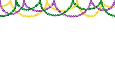 Seamless horizontal pattern beautiful yellow, green, purple beads on a white background. Mardi Gras Party. Иллюстрация