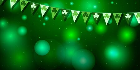 Saint Patricks day horizontal background with garland of flags with clover leaf symbol on a green background. Great for greeting card, poster and web template, header for website. Vector illustration Ilustração