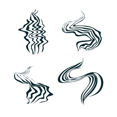 Set of smell vaporize icons. Hot aroma, cooking steam odour, fume of flame.  Cooking steam or warm aroma smell mark, steaming vapour odour.