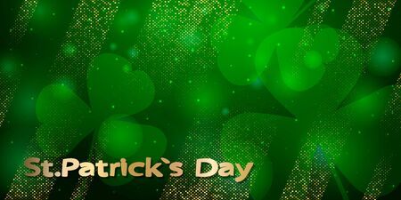Saint Patricks day horizontal background with lettering, clover leaf on green background. Great for greeting card, poster and web template, header for website. Vector Иллюстрация