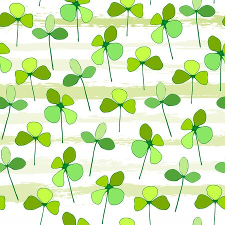 Seamless pattern of green leaves of clover on the background of tiled stripes. Vector Illustration of a St. Patricks Day Background. Ideal for greeting card, poster and web template. Иллюстрация