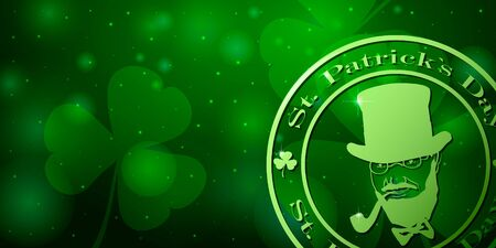Saint Patricks day horizontal background with, Leprechaun with smoking pipe  clover leaf on green background. Great for greeting card, poster and web template, header for website. Vector Иллюстрация