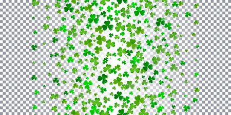 St.Patricks day horizontal seamless background in green colors on white background. Ideal for greeting card, poster and web template. Vector Illustration of a St. Patricks Day Background