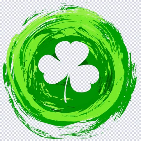 Clover leaf cut out template from round grunge green texture on transparent. St. Patricks Day template shape with lucky shamrock clover for print, t-shirt, decorative festive design element. Иллюстрация