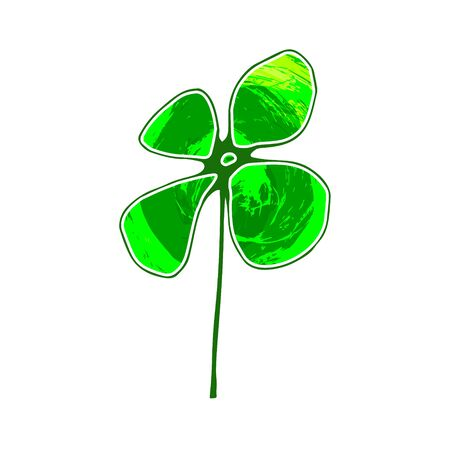 Clover leaf with grunge texture isolated on a white background.St. Patricks Day greeting card template shape with lucky shamrock clover for print, t-shirt, decorative festive