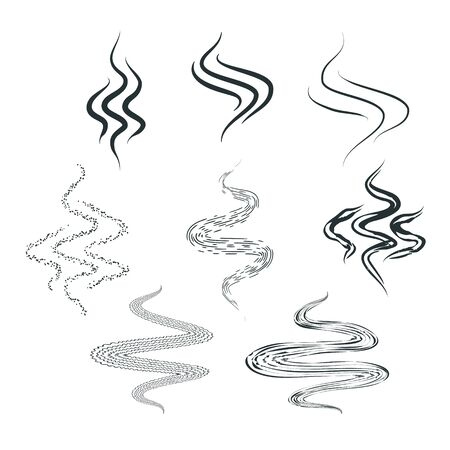 Set of smell vaporize icons. Hot aroma, cooking steam odour, fume of flame. Cooking steam or warm aroma smell mark, steaming vapour odour. Web design cooking steam or warm aroma, smell mark. Vector