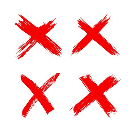 Rejection symbol. Red X icons isolated on white background. Hand drawn crossed brush strokes. Button for Check list marks, choice options, survey signs, vote, decision, web. Vector