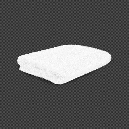 White clean terry towel isolated on transparent background. 3d realistic spa cotton towel for hotel bathroom hygiene or sauna. One white rolled folded fluffy terry towel. Vector Illustration