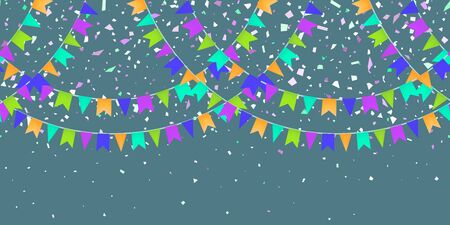 Horizontal Seamless pattern bright flags garland and confetti on dark background. Colorful confetti falling. Carnival garland with pennants for birthday celebration, festival, fair decoration. Vector