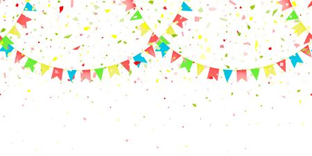 Horizontal Seamless pattern bright flags garland and confetti on white background. Colorful confetti falling. Carnival garland with pennants for birthday celebration, festival, fair decoration. Vector Иллюстрация