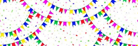 Seamless pattern colorful flags garland and confetti on white background. Carnival garland with pennants for birthday celebration, festival and fair decoration. Colorful confetti falling. Vector