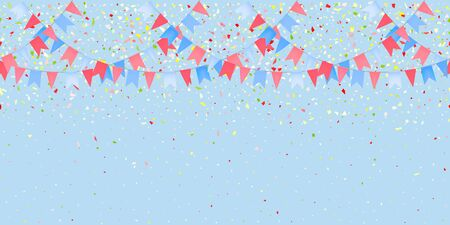 Horizontal Seamless pattern bright flags garland and confetti on blue background. Colorful confetti falling. Carnival garland with pennants for birthday celebration, festival, fair decoration. Vector
