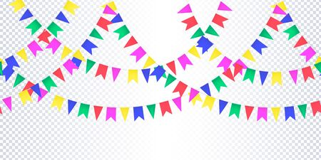 Horizontal Seamless pattern bright colorful flags garland on transparent background. Carnival garland with pennants for birthday celebration, festival, fair decoration. Vector