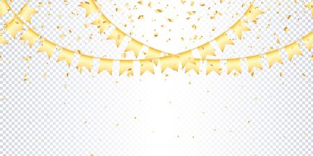 Seamless horizontal pattern golden garland flags and confetti on transparent background. Carnival golden garland with pennants for birthday celebration, festival and fair decoration. Vector Иллюстрация
