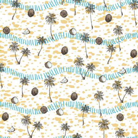 Tropical palm trees seamless pattern on grunge stripes background. Exotic background design for cosmetics, spa, textile, hawaiian style shirt. Perfect as wrapping paper, wallpaper. Vector illustration