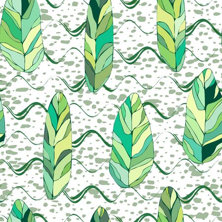 Tropical stained glass leaves seamless pattern on grunge wavy stripes background. Exotic background design for cosmetics, textile, hawaiian style shirt. Perfect as wrapping paper, wallpaper. Vector