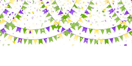 Vector Bright Colorful scattered seamless paper confetti border isolated on white background. Bright beads. Falling particles for Carnival, Mardi Gras, Holiday decoration. Vector illustration Иллюстрация