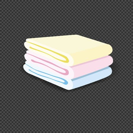 Set of colored clean terry towels isolated. Spa cotton towels folded in stack for hotel bathroom hygiene or sauna. Three colored folded cotton towels. Fresh household fluffy textile. Vector Иллюстрация