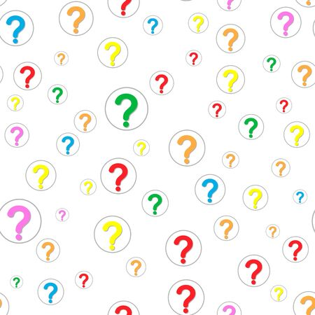 Seamless pattern of colorful question marks scattered on a white background. Beautiful poll template. Design for query background, faq, interrogation,  quiz, poll. Vector illustration Иллюстрация