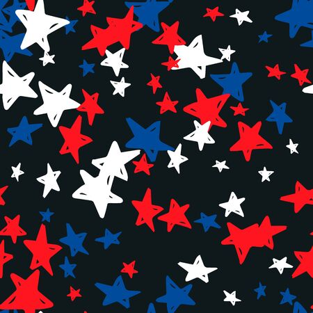 Seamless pattern with blue, red, white stars of celebration USA Independence Day, Memorial Day. Holiday confetti in US flag colors for Independence Day on a black background. Vector illustration