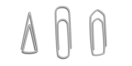 Set clerical realistic metal paper clips isolated on white background. 3d metal paper clips top view.  Office supplies. Vector illustration