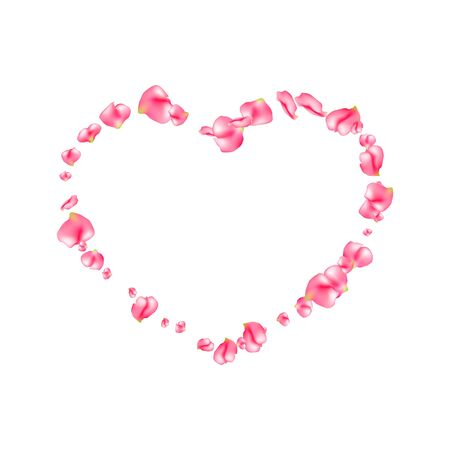 Rose petals heart with flying tender pink petals on white. Valentines day with rose petals. Love pattern. Realistic decoration element wedding, festive card design. Frame in the form of heart. Vector Иллюстрация