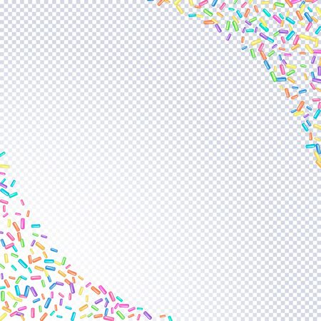 Sprinkle with grains of desserts. Abstract pattern with sprinkles grainy on a transparent background. Design for holiday designs, party, birthday, invitation. Vector sweet confetti Иллюстрация