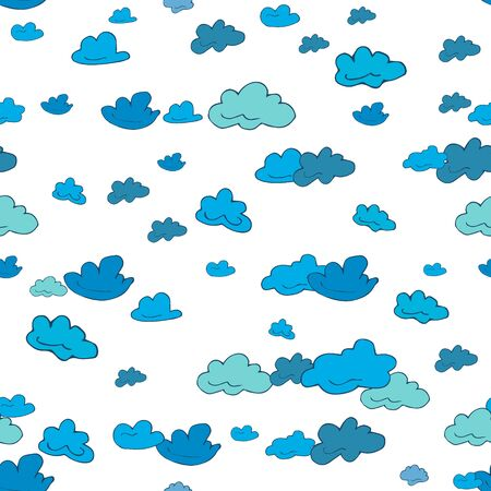 Seamless pattern of clouds, thunderclouds hand drawn  in cartoon style. Vector illustration of isolated weather icons on white background. Weather forecast meteorology and climate symbols