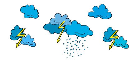 Set lightning, clouds, bad weather, thunderclouds and raindrops hand drawn  in cartoon style. Vector illustration of isolated bad weather icons on white. Weather forecast meteorology, climate symbols Иллюстрация
