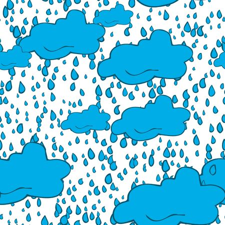 Seamless pattern of clouds, thunderclouds and raindrops hand drawn  in cartoon style. Vector illustration of isolated weather icons on white background. Weather forecast meteorology and climate symbols