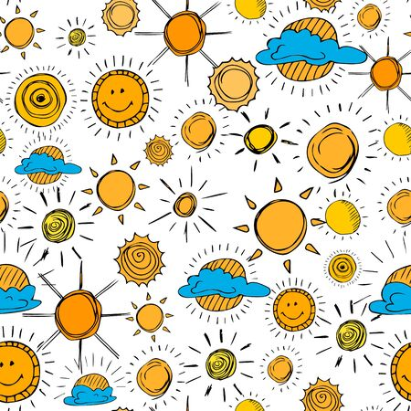 Seamless pattern of weather symbols hand drawn  in cartoon style. Vector illustration of isolated weather icons on a white background. Weather forecast meteorology and climate symbols. Иллюстрация