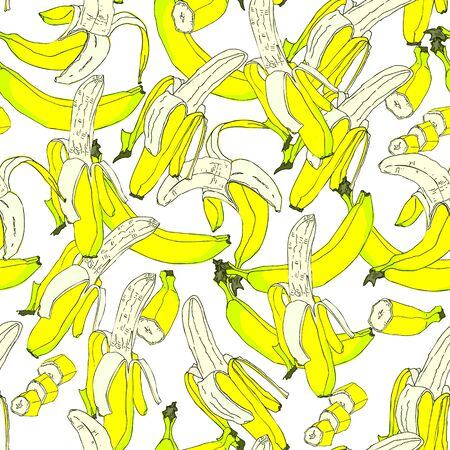 Yellow ripe bananas seamless pattern. Exotic fruit background. Isolated Banana whole, peel and sliced pieces on white background. Perfect for textile, wallpapers, web page backgrounds. Vector Иллюстрация