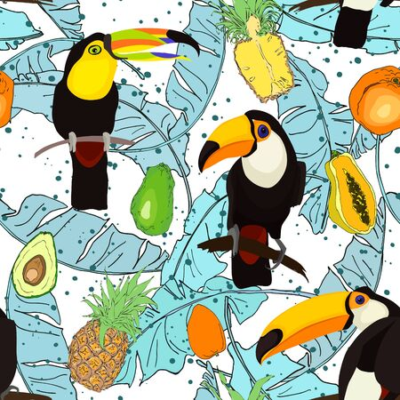 Tropical seamless pattern with bright tropical bird Toucan, tropical fruits,  jungle palm leaves.  Vector summer background for stylish fabric design