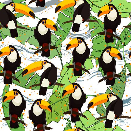Tropical seamless pattern with bright tropical bird Toucan, green jungle palm leaves.  Vector summer background for stylish fabric design